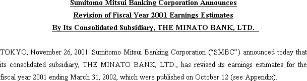 Sumitomo Mitsui Banking Corporation Announces Revision of Fiscal Year 2001 Earnings Estimates By Its Consolidated Subsidiary, THE MINATO BANK, LTD.(1/2)
