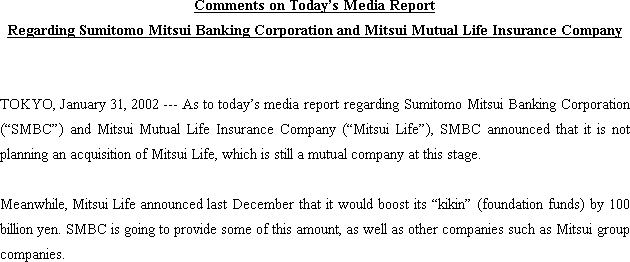 Comments on Today's Media Report Regarding Sumitomo Mitsui Banking Corporation and Mitsui Mutual Life Insurance Company(1/1)