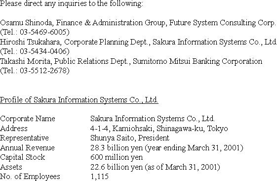Strategic Alliance between Future System Consulting Corp. and Sakura Information Systems Co., Ltd.(2/2)