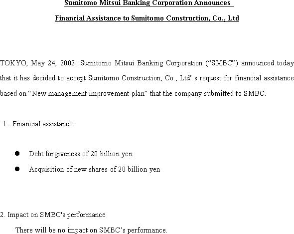Sumitomo Mitsui Banking Corporation Announces Financial Assistance to Sumitomo Construction, Co., Ltd(1/1)