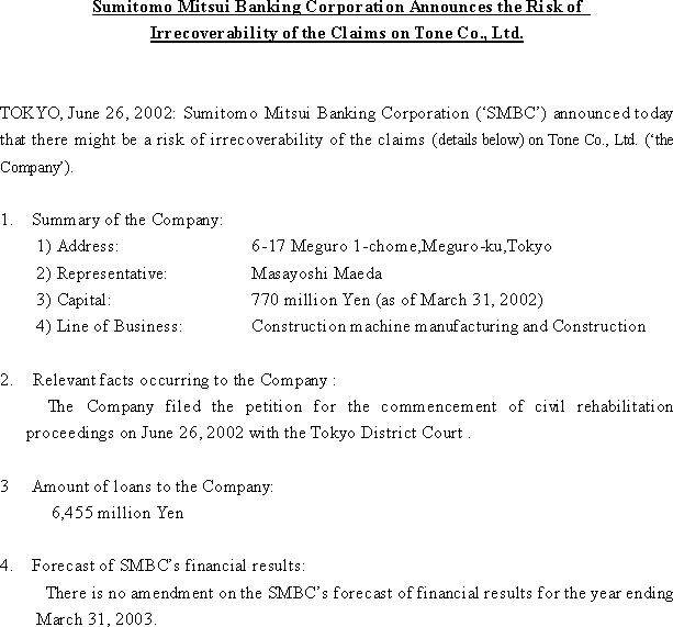Sumitomo Mitsui Banking Corporation Announces the Risk of Irrecoverability of the Claims on Tone Co., Ltd.(1/1)