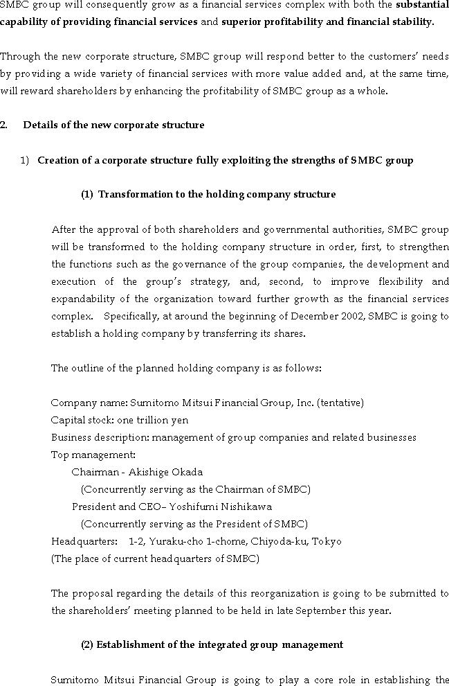 The Actions for Fortifying the Corporate Structure of Sumitomo Mitsui Banking Corporation Group(2/5)
