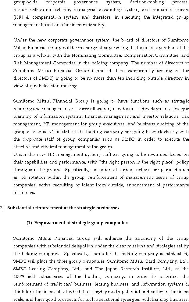 The Actions for Fortifying the Corporate Structure of Sumitomo Mitsui Banking Corporation Group(3/5)