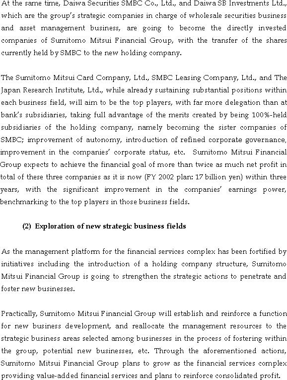 The Actions for Fortifying the Corporate Structure of Sumitomo Mitsui Banking Corporation Group(4/5)