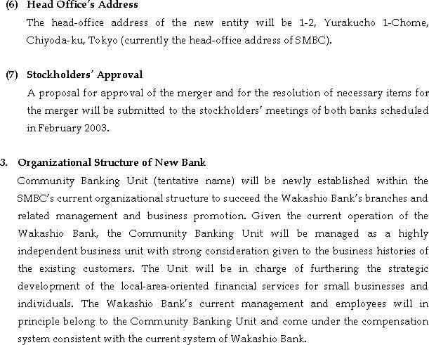 Merger Between Sumitomo Mitsui Banking Corporation and The Wakashio Bank, Limited(3/4)
