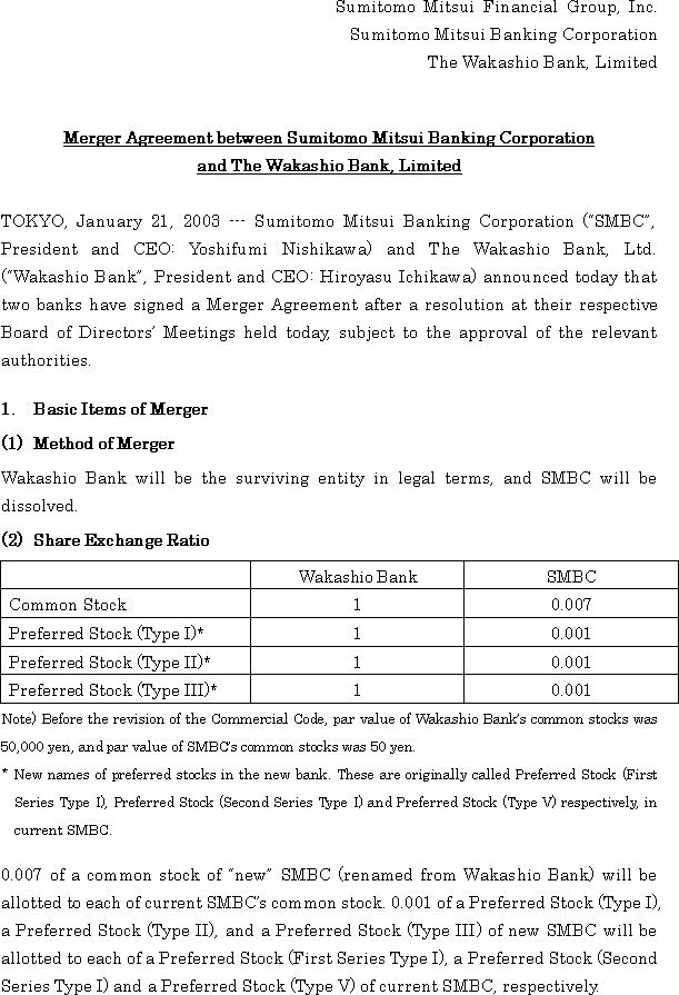 Merger Agreement between Sumitomo Mitsui Banking Corporation and The Wakashio Bank, Limited(1/5)