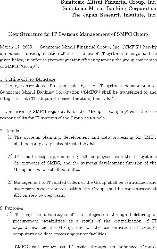 New Structure for IT Systems Management of SMFG Group(1/3)
