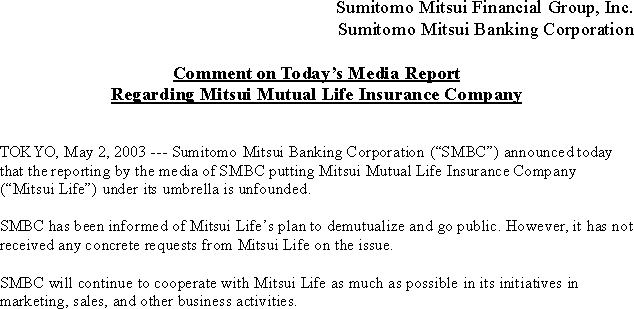 Comment on Today's Media Report Regarding Mitsui Mutual Life Insurance Company(1/1)
