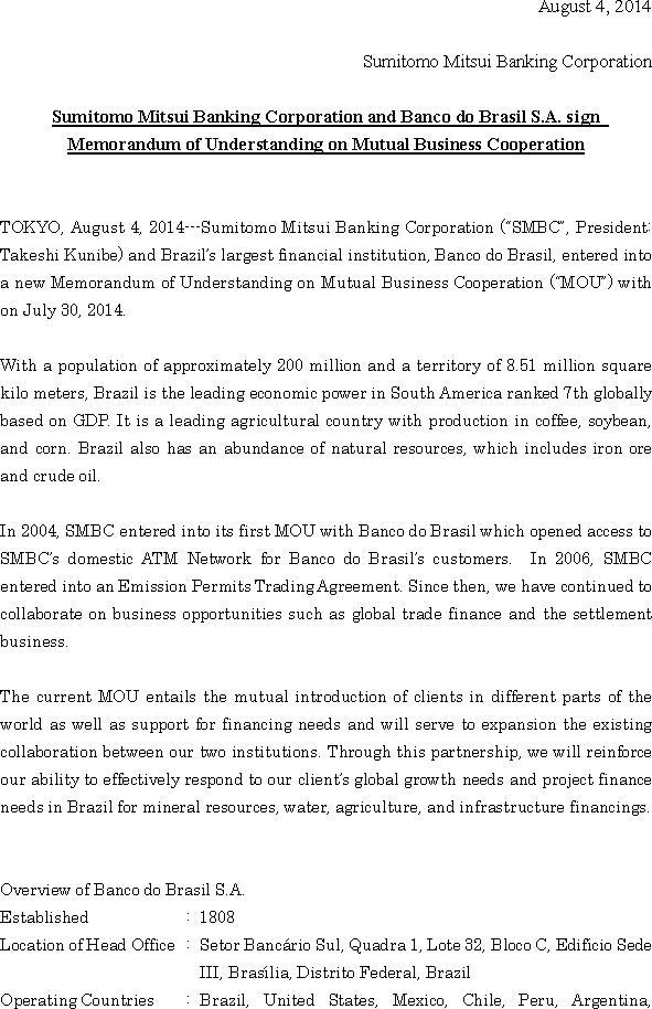 News Release Sumitomo Mitsui Banking Corporation